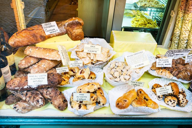 Bakery with traditional local sweet and breads stock image