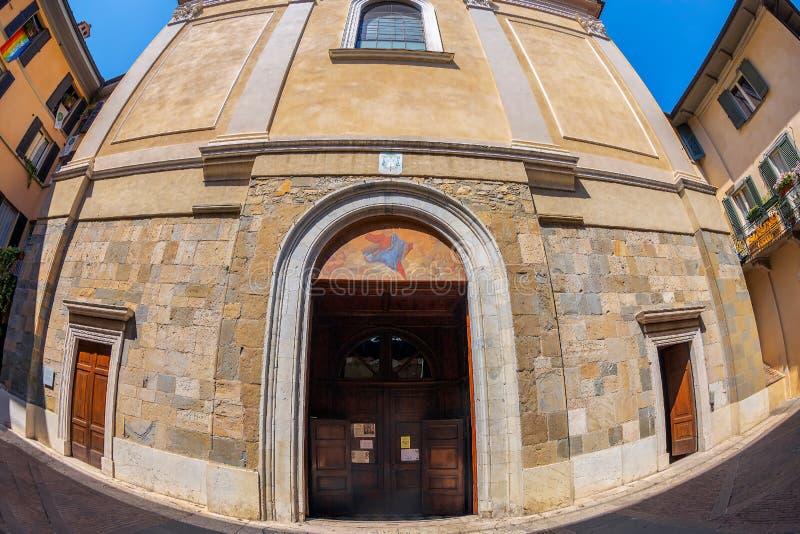 Interior of the catholic church Sant Agata nel Carmine, Bergamo, Italy. BERGAMO, ITALY - JUNE 30, 2019: Exterior of the catholic church Sant Agata nel Carmine stock photo