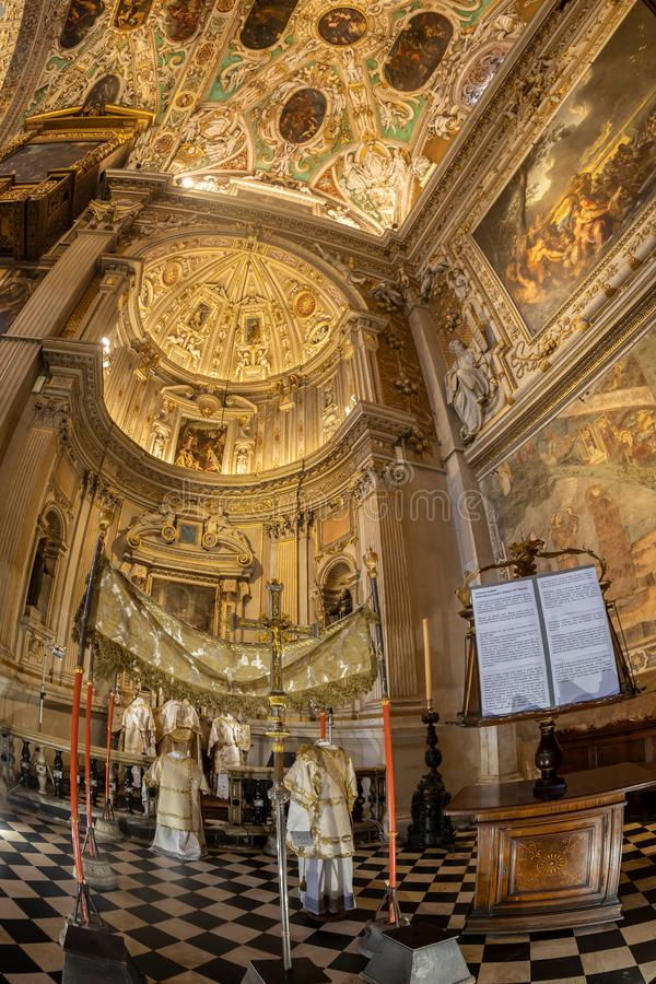 Interior of the Basilica of Santa Maria Maggiore, Bergamo, Italy. BERGAMO, ITALY - JUNE 30, 2019: Interior of the Basilica of Santa Maria Maggiore founded in royalty free stock photography