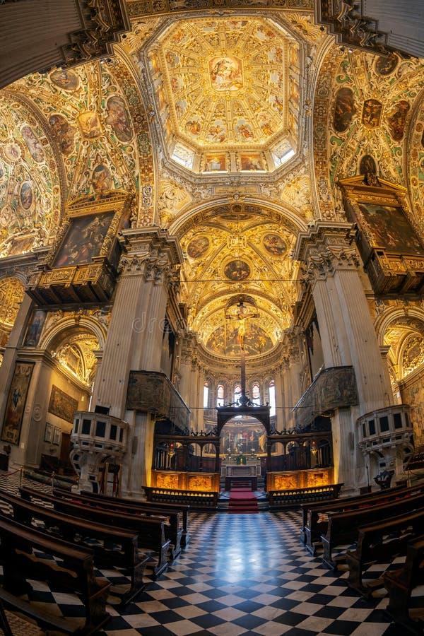 Interior of the Basilica of Santa Maria Maggiore, Bergamo, Italy. BERGAMO, ITALY - JUNE 30, 2019: Interior of the Basilica of Santa Maria Maggiore founded in stock image
