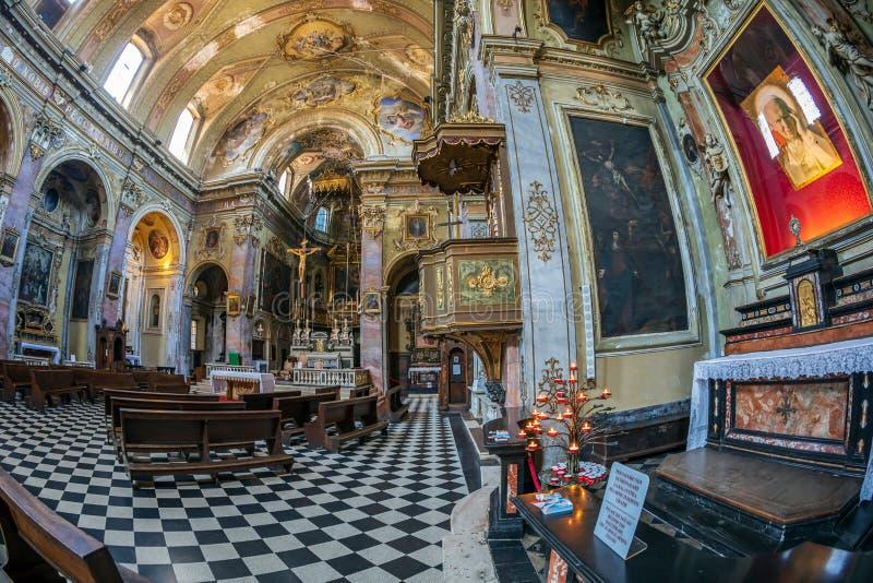Interior of the catholic church Sant Agata nel Carmine, Bergamo, Italy. BERGAMO, ITALY - JUNE 30, 2019: Interior of the catholic church Sant Agata nel Carmine stock images