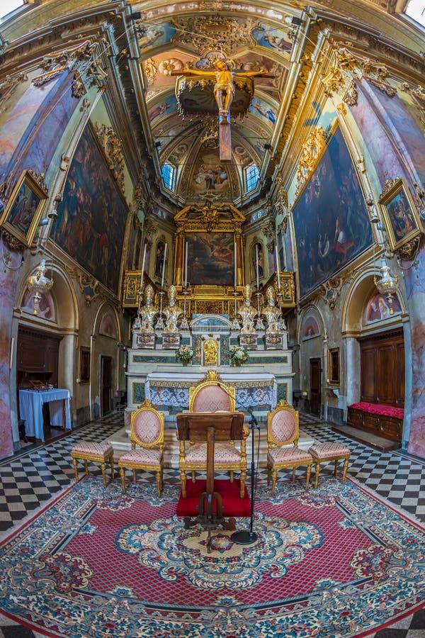 Interior of the catholic church Sant Agata nel Carmine, Bergamo, Italy. BERGAMO, ITALY - JUNE 30, 2019: Interior of the catholic church Sant Agata nel Carmine royalty free stock images