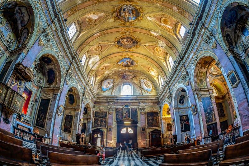 Interior of the catholic church Sant Agata nel Carmine, Bergamo, Italy. BERGAMO, ITALY - JUNE 30, 2019: Interior of the catholic church Sant Agata nel Carmine stock image