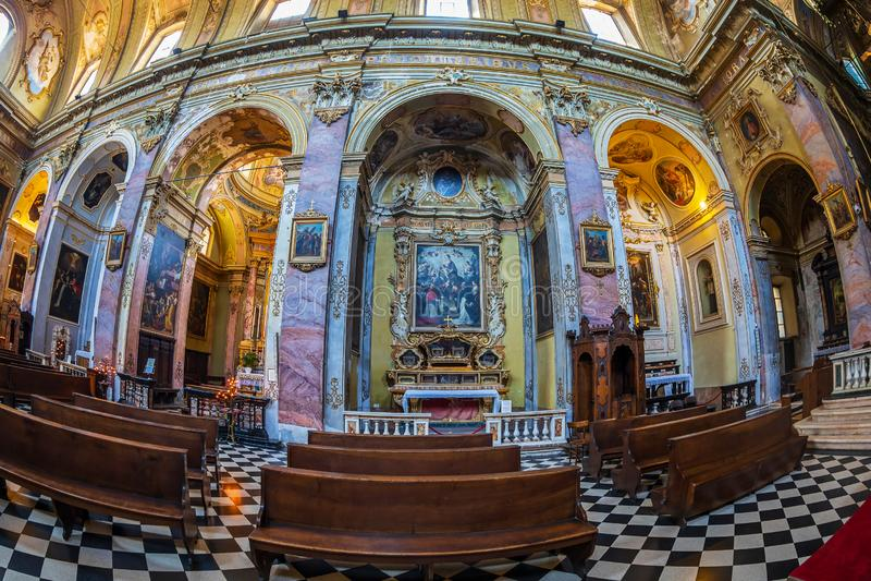 Interior of the catholic church Sant Agata nel Carmine, Bergamo, Italy. BERGAMO, ITALY - JUNE 30, 2019: Interior of the catholic church Sant Agata nel Carmine stock photos