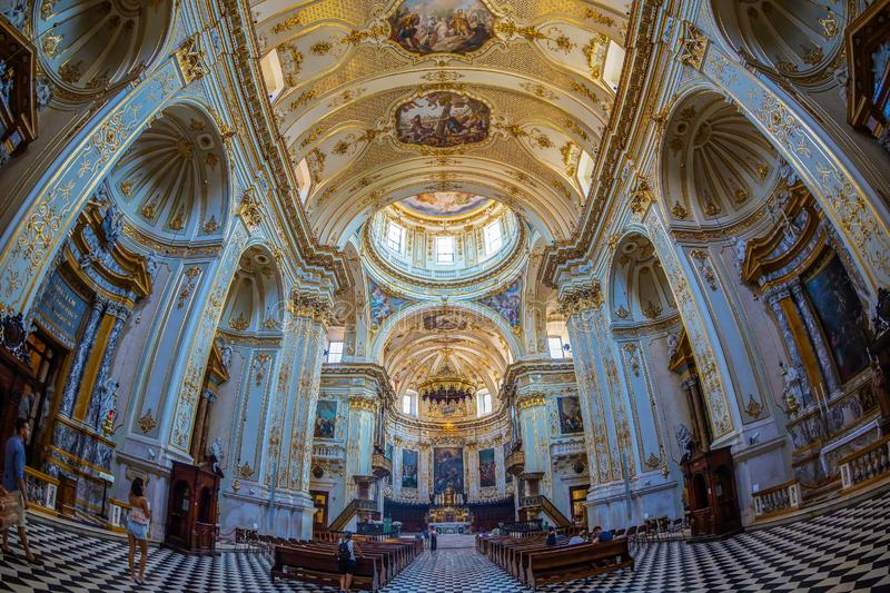 Interior of Cattedrale di Sant Alessandro, Bergamo, Italy. BERGAMO, ITALY - JUNE 30, 2019: Interior of Cattedrale di Sant Alessandro, a Roman Catholic cathedral royalty free stock image