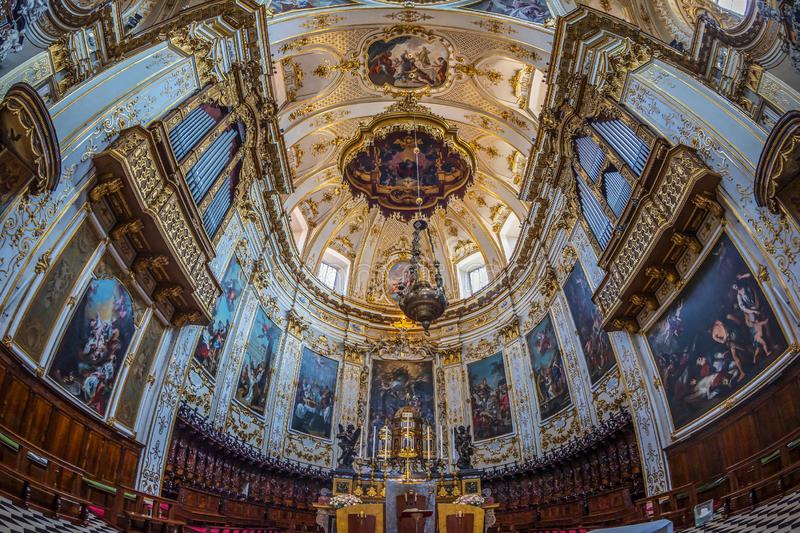 Interior of Cattedrale di Sant Alessandro, Bergamo, Italy. BERGAMO, ITALY - JUNE 30, 2019: Interior of Cattedrale di Sant Alessandro, a Roman Catholic cathedral stock photography