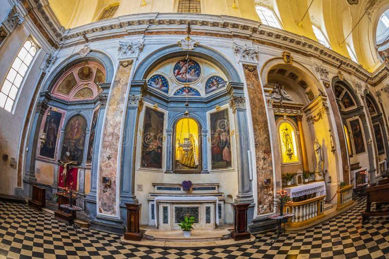 Interior of the church Chiesa di San Pancrazio, Bergamo, Italy. BERGAMO, ITALY - JUNE 30, 2019: Interior of the church Chiesa di San Pancrazio. Attested from in stock images