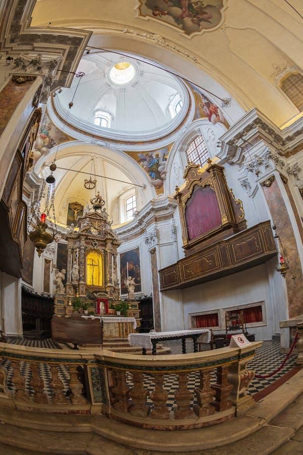 Interior of the church Chiesa di San Pancrazio, Bergamo, Italy. BERGAMO, ITALY - JUNE 30, 2019: Interior of the church Chiesa di San Pancrazio. Attested from in stock photography