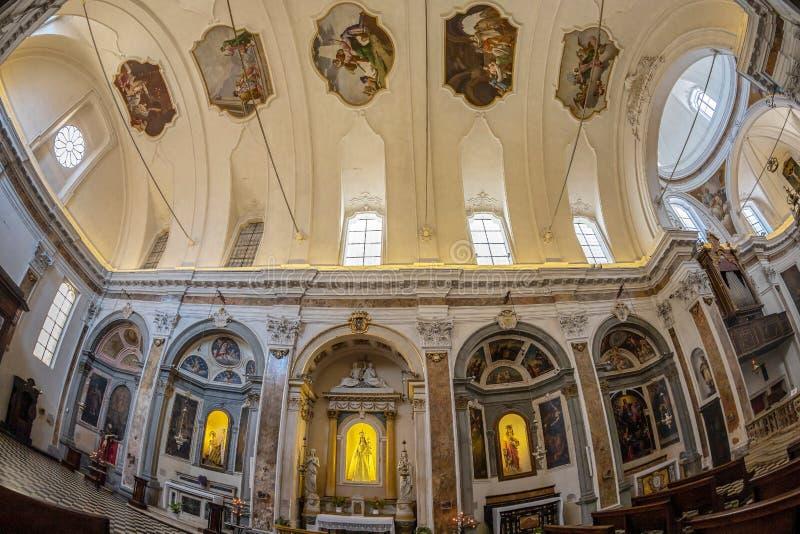 Interior of the church Chiesa di San Pancrazio, Bergamo, Italy. BERGAMO, ITALY - JUNE 30, 2019: Interior of the church Chiesa di San Pancrazio. Attested from in royalty free stock photos