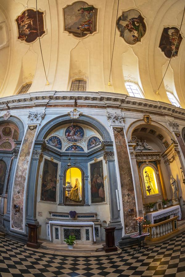 Interior of the church Chiesa di San Pancrazio, Bergamo, Italy. BERGAMO, ITALY - JUNE 30, 2019: Interior of the church Chiesa di San Pancrazio. Attested from in royalty free stock photography