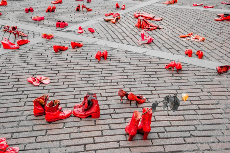 Artistic installation against violence against women stock photography