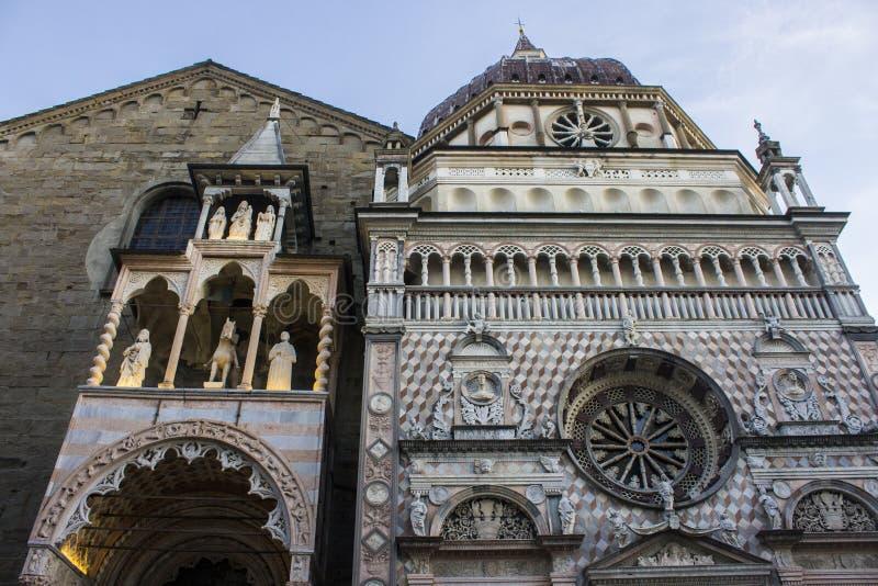 Bergamo, Italy. Monuments of the Citta Alta upper city of Bergamo, Italy. the Duomo cathedral, the Basilica di Santa Maria Maggiore and the Cappella Colleoni stock photo