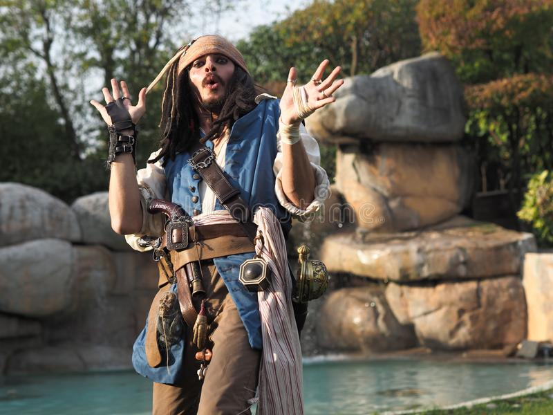 BERGAMO, Italy- October 28, 2017 Actor in person cosplay `Captain Jack Sparrow` from Pirates of the Caribbean at Brusaporto Expo P. Hoto day 2017. October 28 royalty free stock images