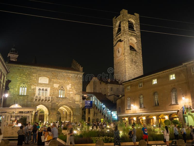 Bergamo, Italy. The Old town. The old main square and to the buildings that surround it with a new temporary street furniture stock photo
