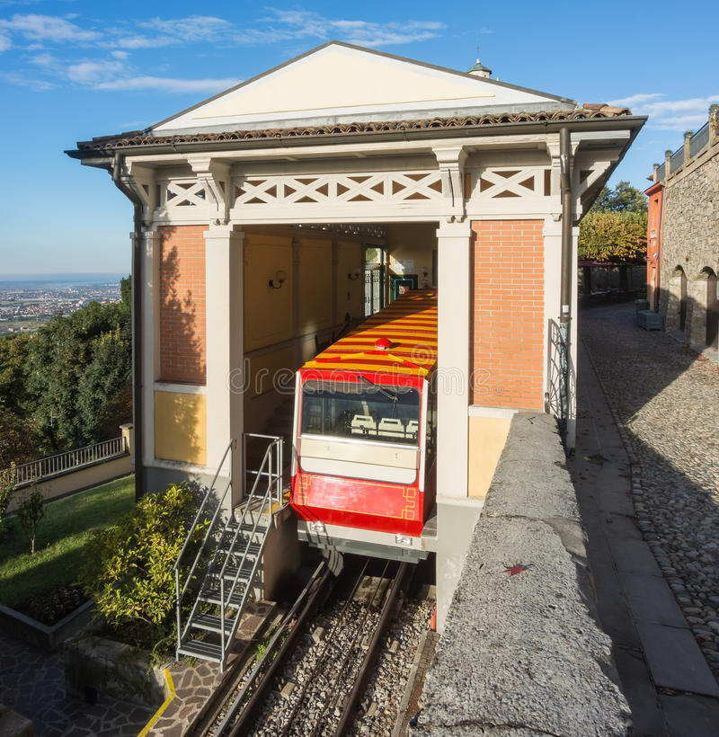 Bergamo, Italy. The red funicular in the old city of Bergamo at the upper station at San Vigilio hill royalty free stock photo