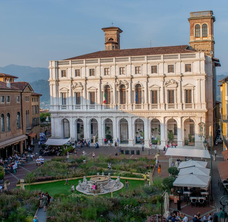 Bergamo. Italy September 11 th 2018:  Old Town in a high-rise city transformed into a botanical garden for the masters of the landscape stock image