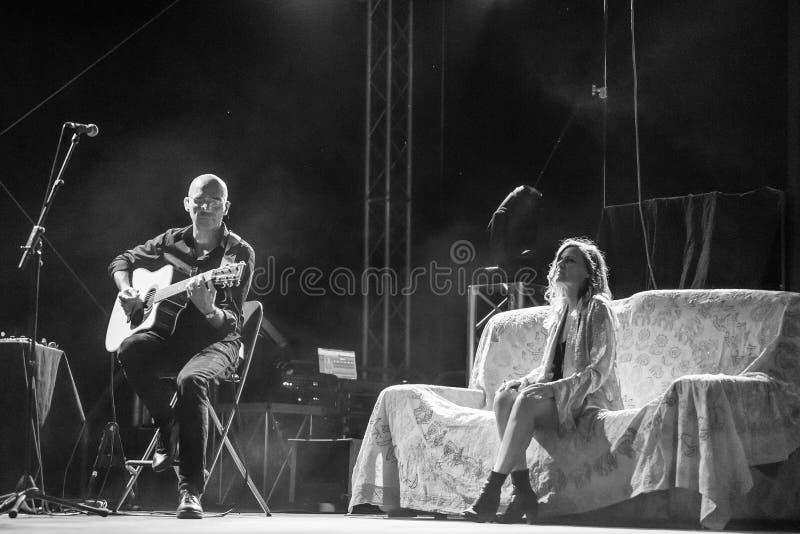 Irene Grandi and Pastis live at Rock sul Serio BG 23-07-2017. Bergamo, Italy. 23st July 2017. Italian singer Irene Grandi performs at the Rock sul Serio festival royalty free stock photography