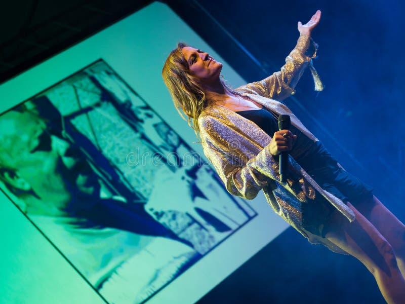 Irene Grandi and Pastis live at Rock sul Serio BG 23-07-2017. Bergamo, Italy. 23st July 2017. Italian singer Irene Grandi performs at the Rock sul Serio festival stock photography