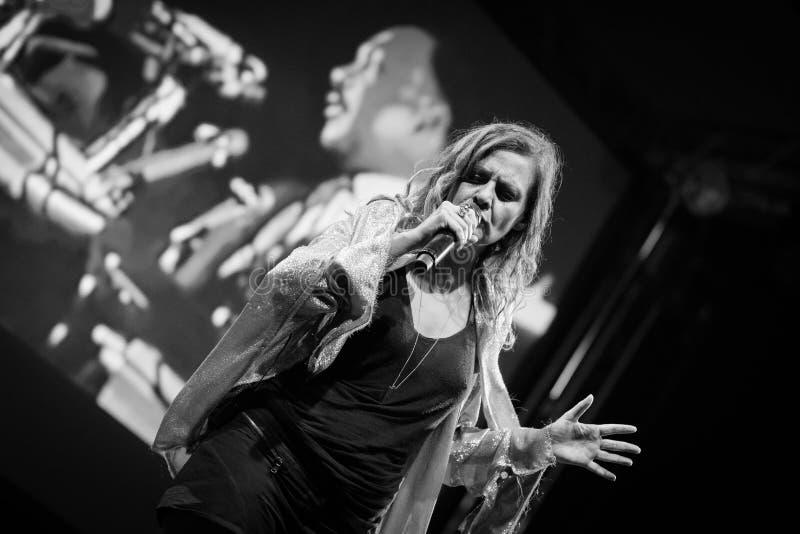 Irene Grandi and Pastis live at Rock sul Serio BG 23-07-2017. Bergamo, Italy. 23st July 2017. Italian singer Irene Grandi performs at the Rock sul Serio festival stock image