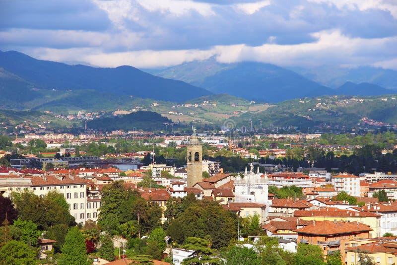 Bergamo, Italy. View of Bergamo lower town and Alps, Italy stock photos