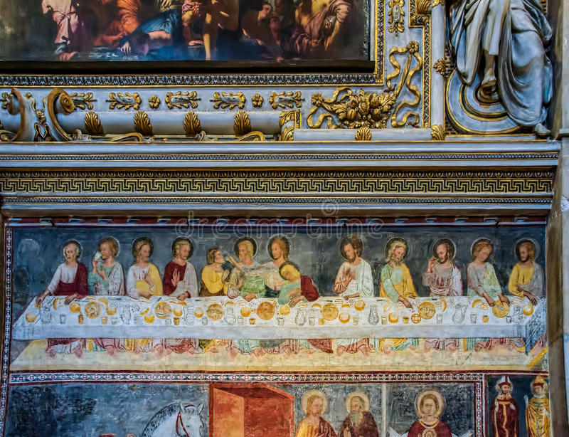 BERGAMO, LOMBARDY/ITALY - JUNE 25 : Painting of the Last Supper royalty free stock photo