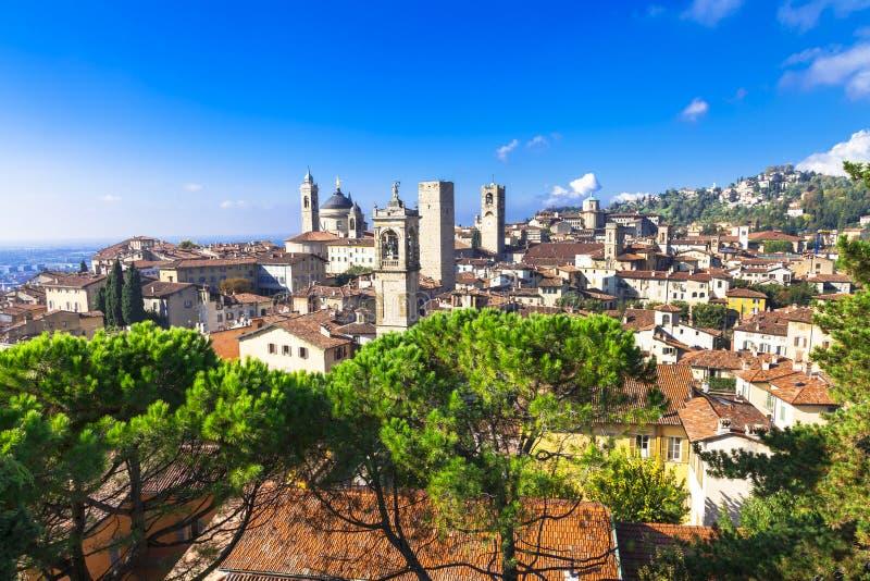 Bergamo, Lombardy, Italy. Landmarks of Italy - beautiful town Bergamo, Lombardy, Italy royalty free stock photo