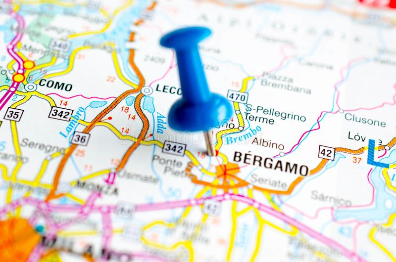 Bergamo on map. With push pin royalty free stock images