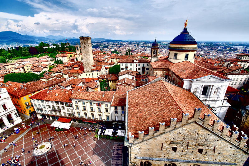 Bergamo Milano Italy from above. HDR artistic aerial image. stock images