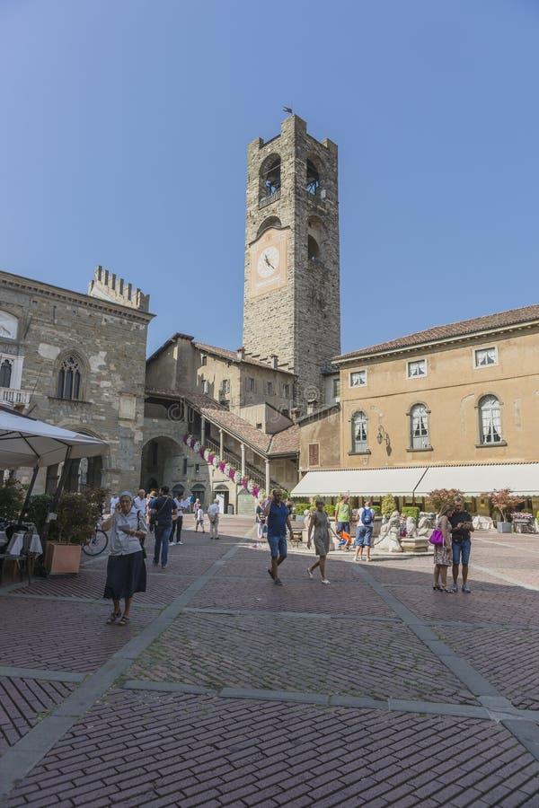 Bergamo - Old city. Bergamo - Old city Città Alta. Landscape on the the ancient Administration Headquarter called Palazzo della Ragione and the clock tower stock images