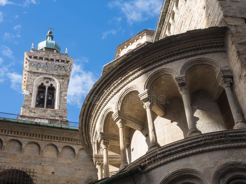 Bergamo - Old city. One of the beautiful city in Italy. Lombardia. The bell tower and the dome of the Cathedral called Santa Maria royalty free stock images