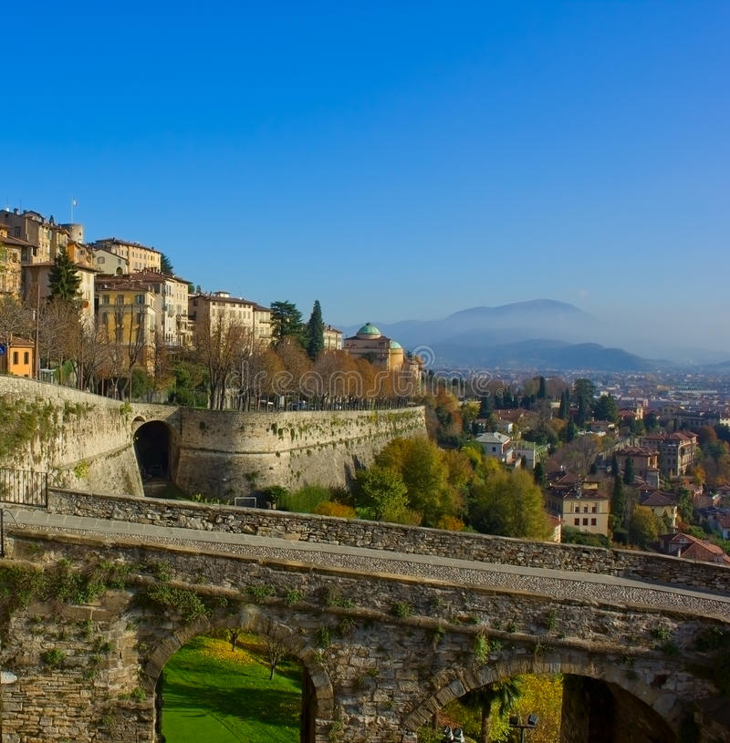 Bergamo old town, Italy stock photography
