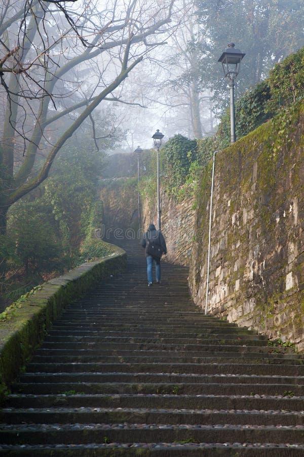 Bergamo - podbieg górny miasteczko w zimie obrazy stock