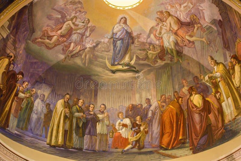"Bergamo - ""The Proclamatie van dogma van Immacolate conception† - kerk Santa Maria Immacolata delle Grazie stock foto"