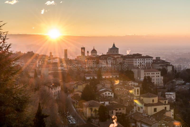 Bergamo. Sunrise in bergamo alta italy royalty free stock photo
