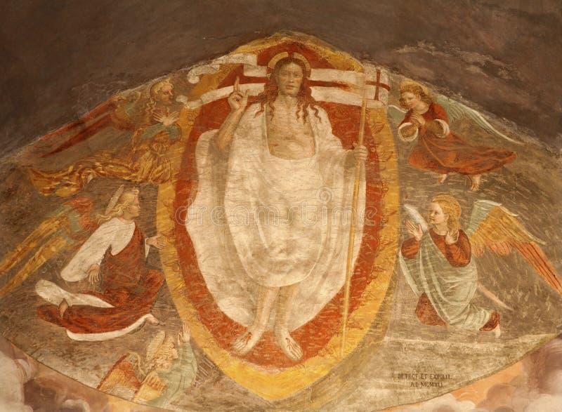 Bergamo - Wskrzeczający Chrystus od głównej apsydy w kościelnym Michele al pozzo bianco. obrazy royalty free