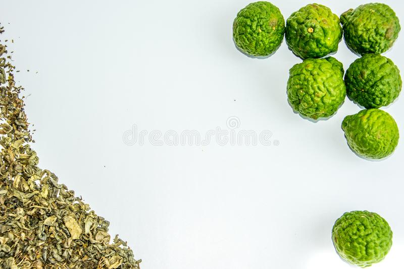 Bergamot fruit and tea. Citrus bergamia, the bergamot orange is a fragrant citrus with a yellow or green color similar to a lime stock photography