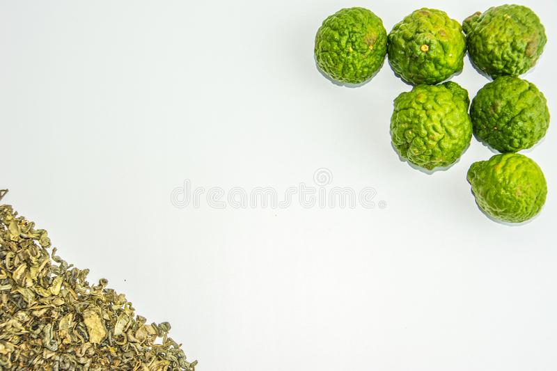 Bergamot fruit and tea. Citrus bergamia, the bergamot orange is a fragrant citrus with a yellow or green color. Similar to a lime stock photo
