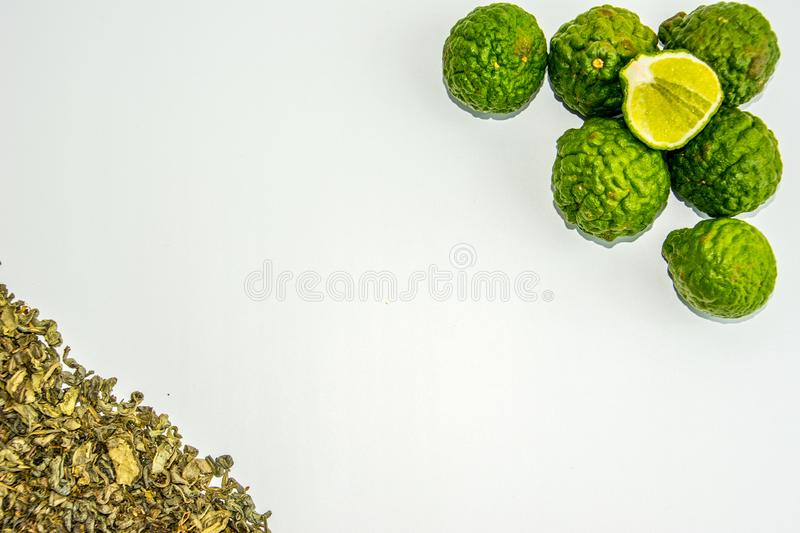Bergamot fruit and tea. Citrus bergamia, the bergamot orange is a fragrant citrus with a yellow or green color. Similar to a lime stock images