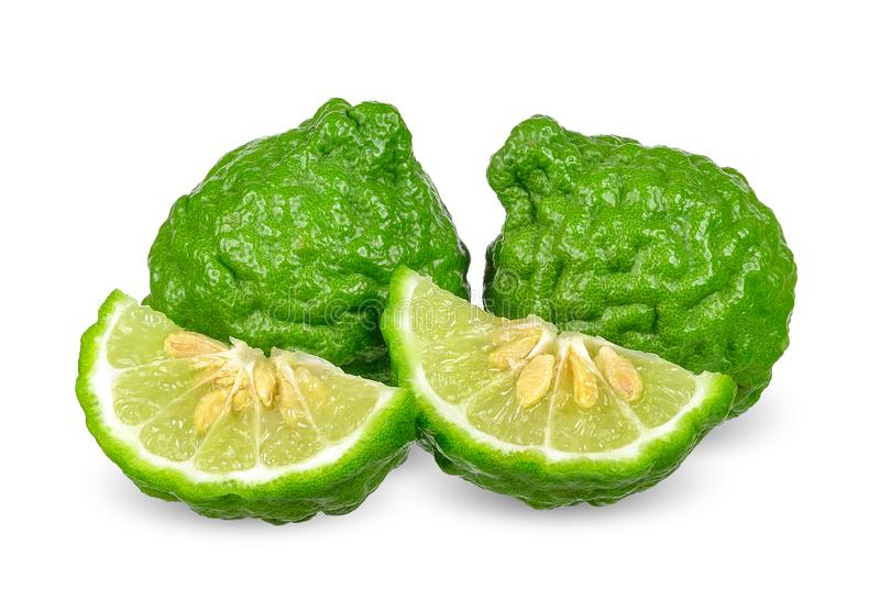 Bergamot isolated on white with clipping path.  stock photo