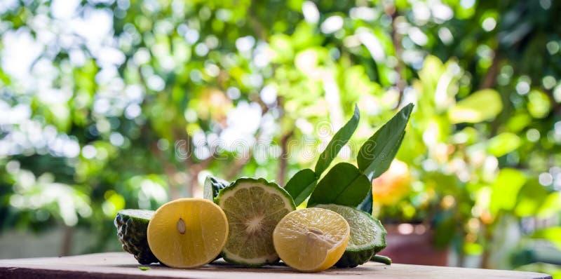 Bergamot and lemon. Fresh bergamot and lemon fruit on wooden table background ,Bokeh background royalty free stock photo