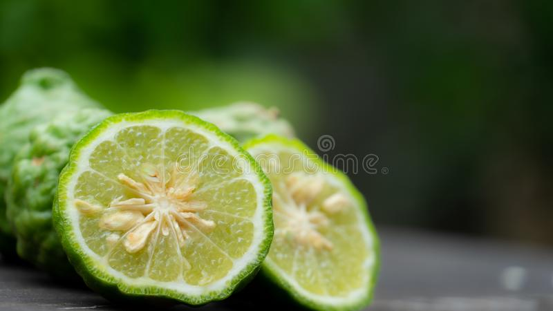Bergamot slice on the table stock photography