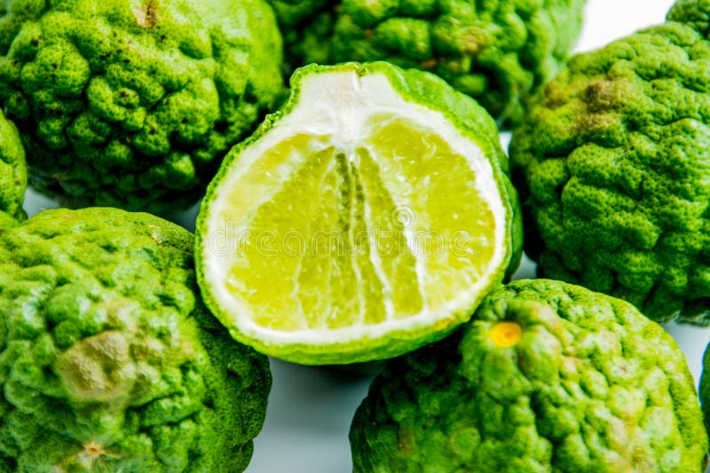 Bergamot on the white background. Citrus bergamia, the bergamot orange is a fragrant citrus. With a yellow or green color similar to a lime stock photo