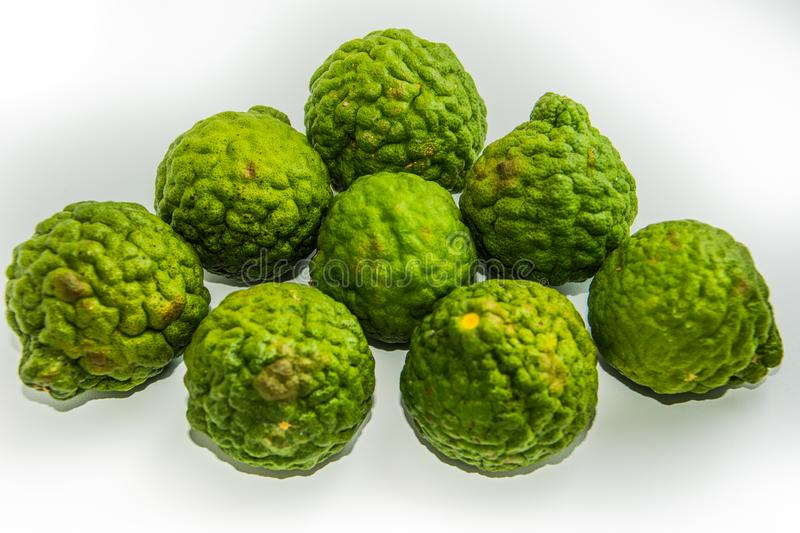 Bergamot on the white background. Citrus bergamia, the bergamot orange is a fragrant citrus. With a yellow or green color similar to a lime stock photography