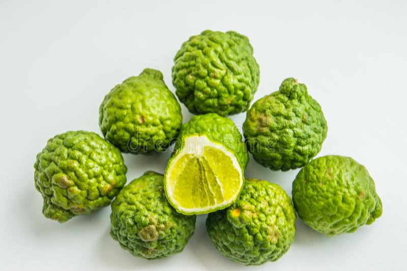 Bergamot on the white background. Citrus bergamia, the bergamot orange is a fragrant citrus with a yellow or green color. Similar to a lime royalty free stock photography