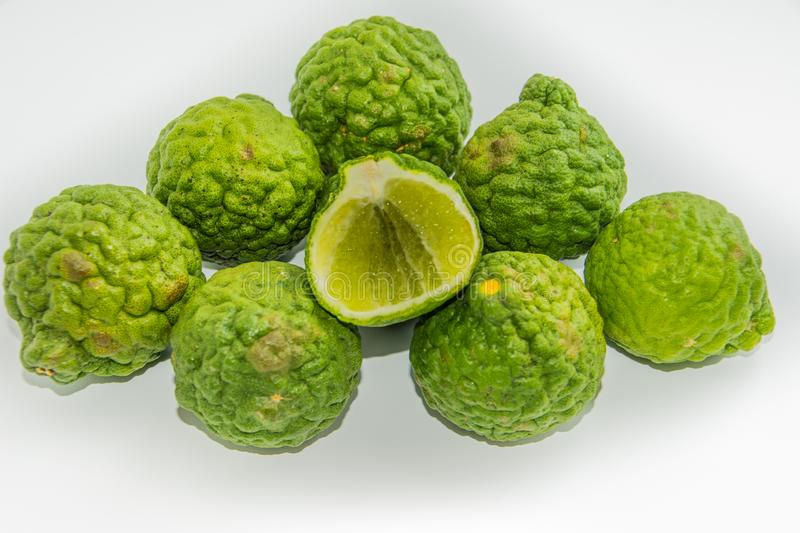 Bergamot on the white background. Citrus bergamia, the bergamot orange is a fragrant citrus with a yellow or green color. Similar to a lime royalty free stock images