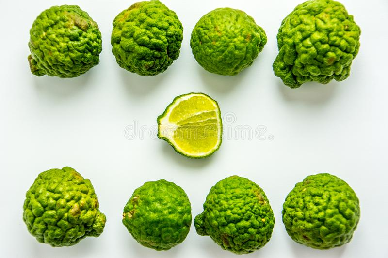 Bergamot on the white background. Citrus bergamia, the bergamot orange is a fragrant citrus with a yellow or green color. Similar to a lime stock photography
