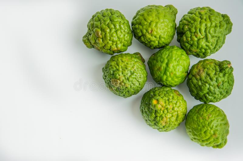 Bergamot on the white background. Citrus bergamia, the bergamot orange is a fragrant citrus with a yellow or green color. Similar to a lime royalty free stock photo