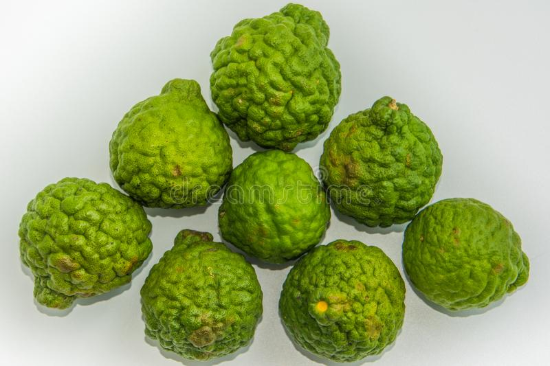 Bergamot on the white background. Citrus bergamia, the bergamot orange is a fragrant citrus with a yellow. Or green color similar to a lime stock images