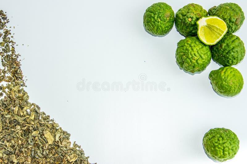 Bergamotfruit en thee stock foto