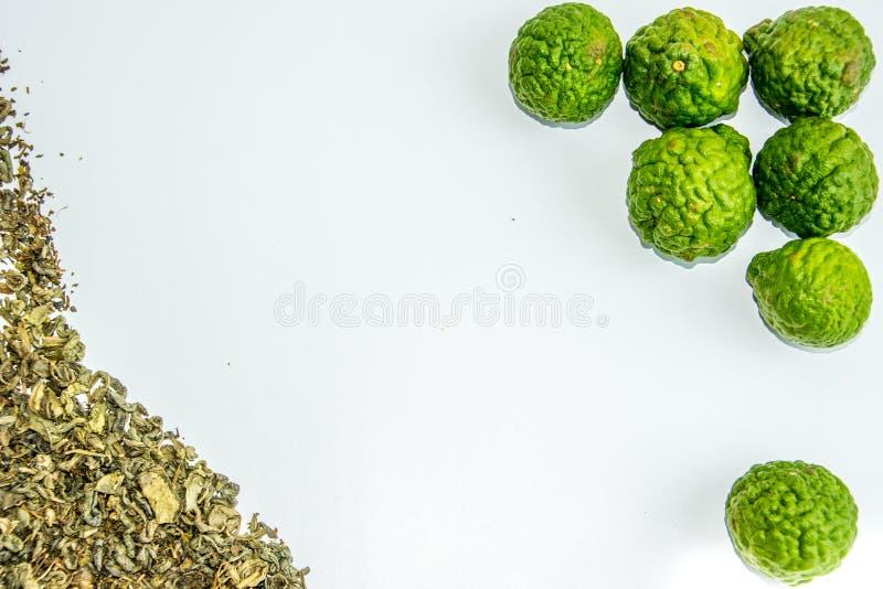 Bergamotfrukt och te arkivbild